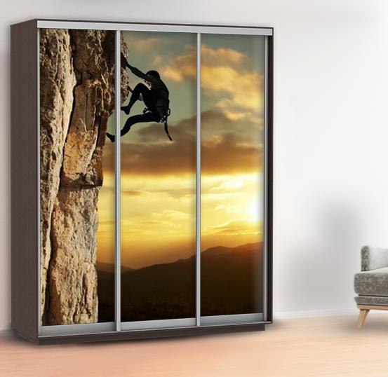 Наклейка для шкафа скалолаз (виниловая наклейка горы) 240 х 100 см с защитной ламинацией