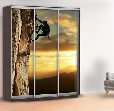 Наклейка для шкафа скалолаз (виниловая наклейка горы) 240 х 100 см с защитной ламинацией, фото 2
