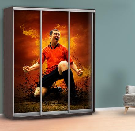 Наклейка для шкафа футбол (самоклейка на шкаф-купе спорт) 240 х 100 см с защитной ламинацией, фото 2