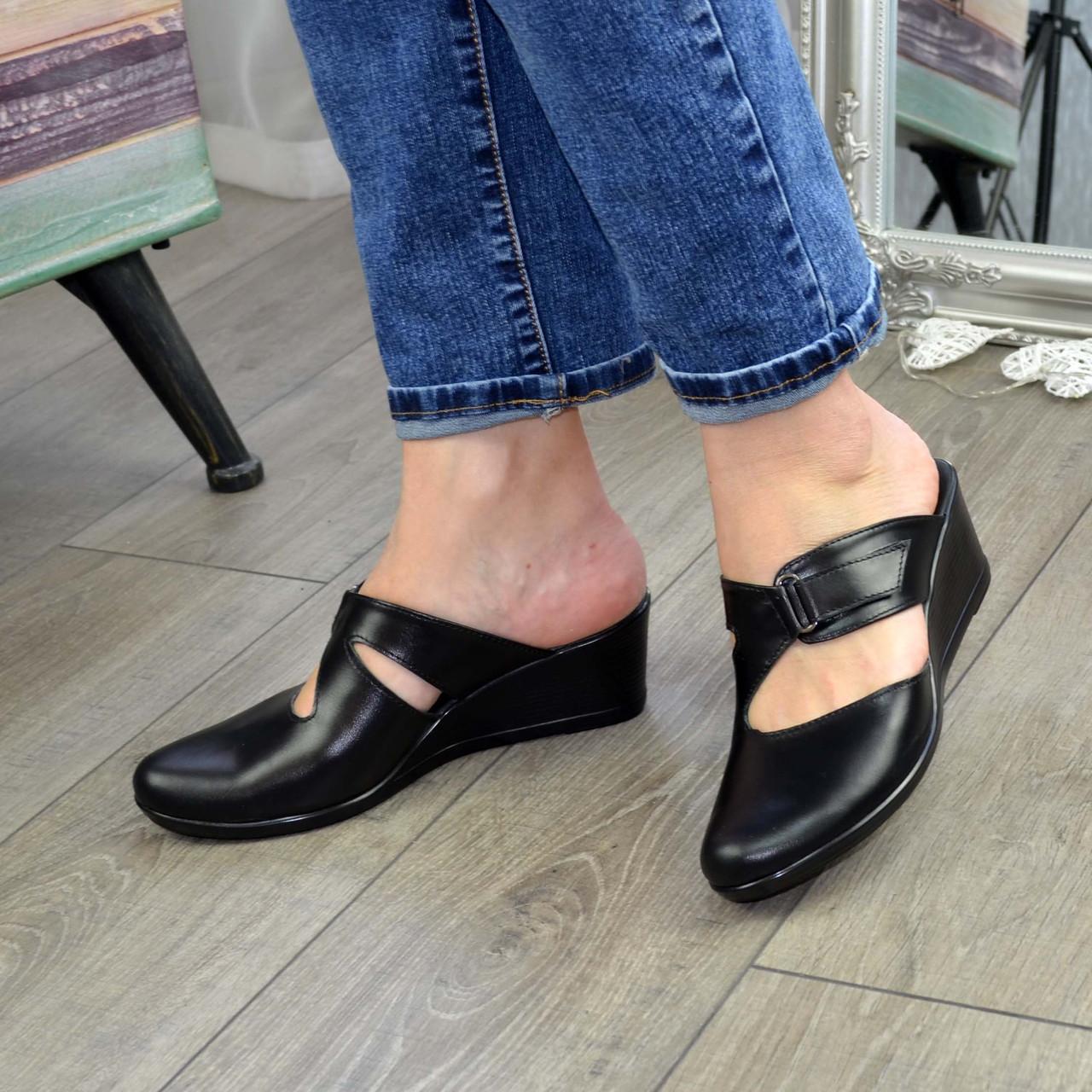 """Сабо женские кожаные черного цвета от производителя ТМ """"Maestro"""""""