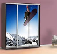 Наклейка на шкаф сноуборд (самоклейка для дверей спорт) 240 х 100 см с защитной ламинацией