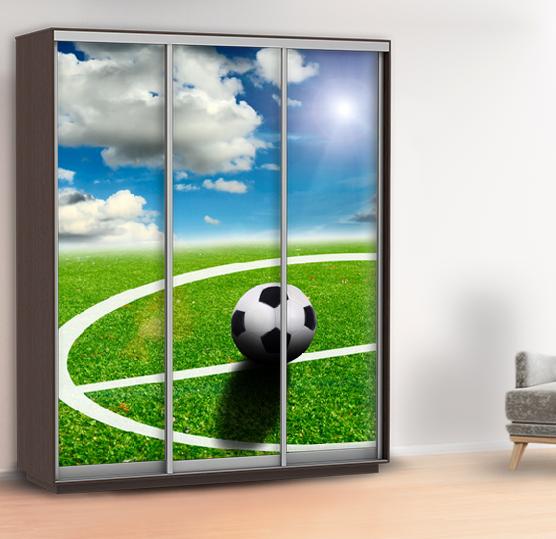 Наклейка на шкаф футбол (наклейка на двери спорт) 240 х 100 см с защитной ламинацией