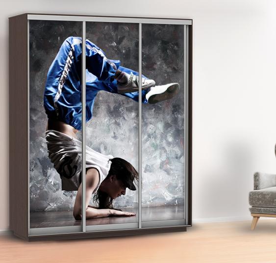 Наклейка на шкаф танцы (самоклейка для шкафа спорт), стены 240 х 100 см с защитной ламинацией
