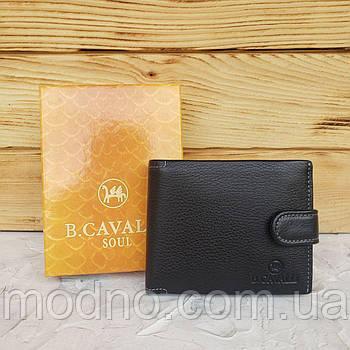 Мужской итальянский кожаный чёрный складной кошелёкB.Cavalli