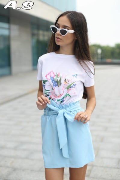 Женский летный костюм : футболка с принтом+ юбка с завышенной посадкой