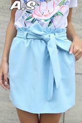 Женская стильная юбка с высокой посадкой,голубого цвета