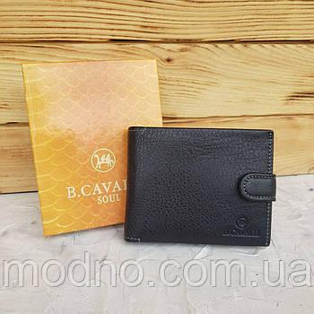 Мужской итальянский кожаный кошелёкна кнопке чёрный B.Cavalli