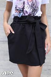 Женская стильная черная юбка с высокой посадкой