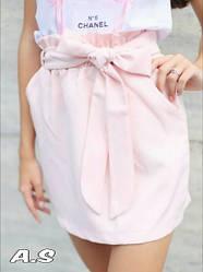 Женская стильная юбка с поясом ,цвет пудра