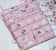 Защита - бортики на детскую кроватку из 4-х частей, Мишки и зебры, розовый