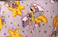Защита - бортики на детскую кроватку из 4-х частей, Мишки на Луне, сиреневый