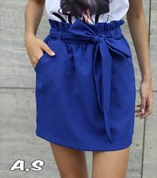 Женская юбка с поясом и карманами,цвет электрик