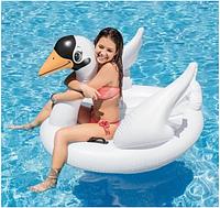 Надувной круг, матрас белый лебедь Intex 57557. Большой плотик для детей и взрослых, фото 1