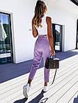 Женские брюки, лён - жатка, р-р С-М; М-Л (лавандовый), фото 2