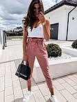Женские брюки, лён - жатка, р-р С-М; М-Л (пудровый), фото 2
