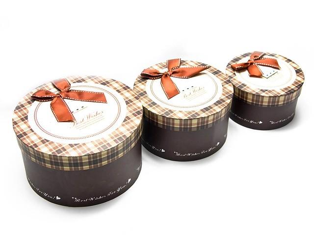 Подарочные коробки круглые (комплект из 3-х штук)