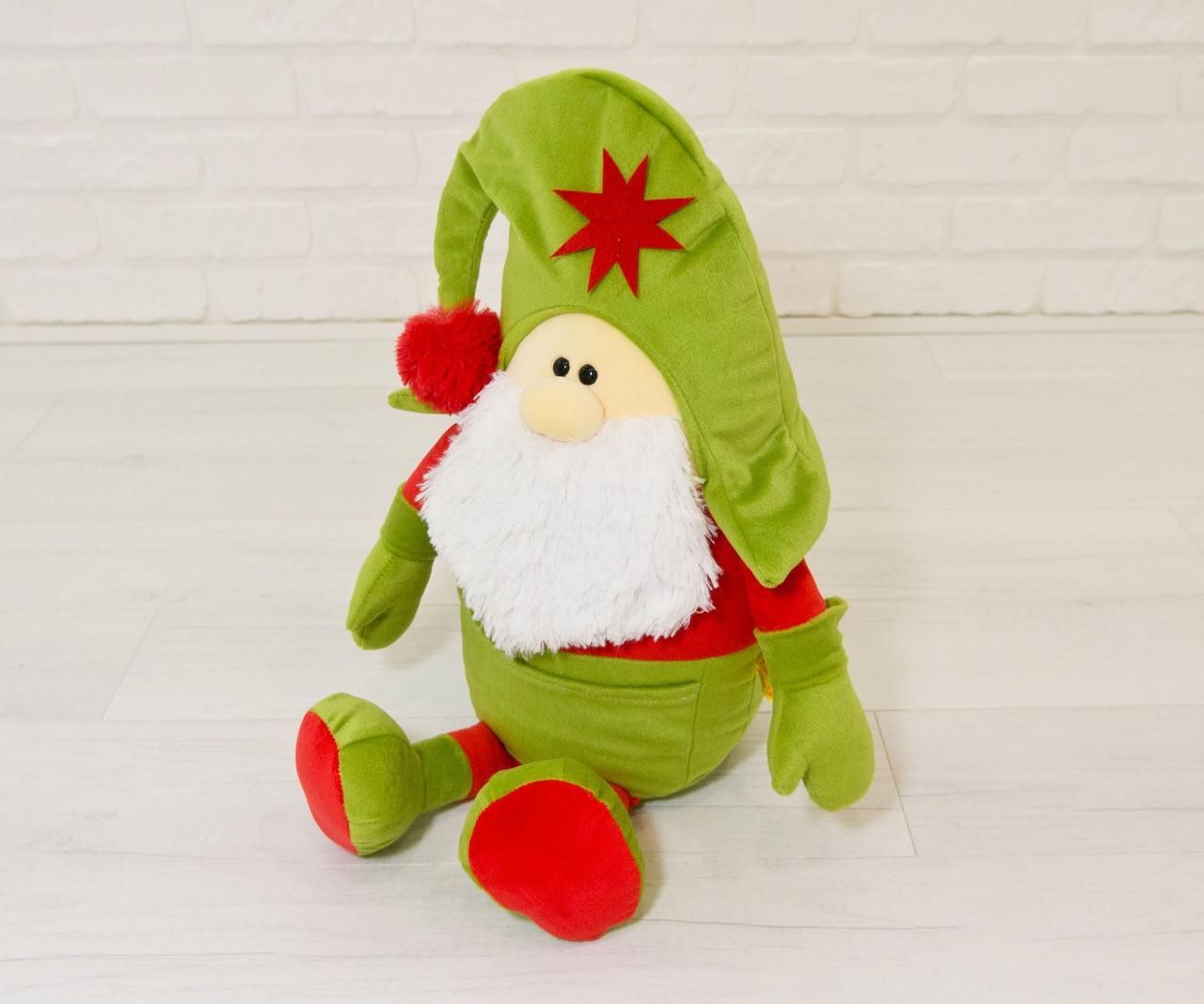 Мягкая игрушка Kidsqo Гномик Санта оливкового цвета