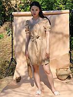 Льняное платье рубашка с поясом