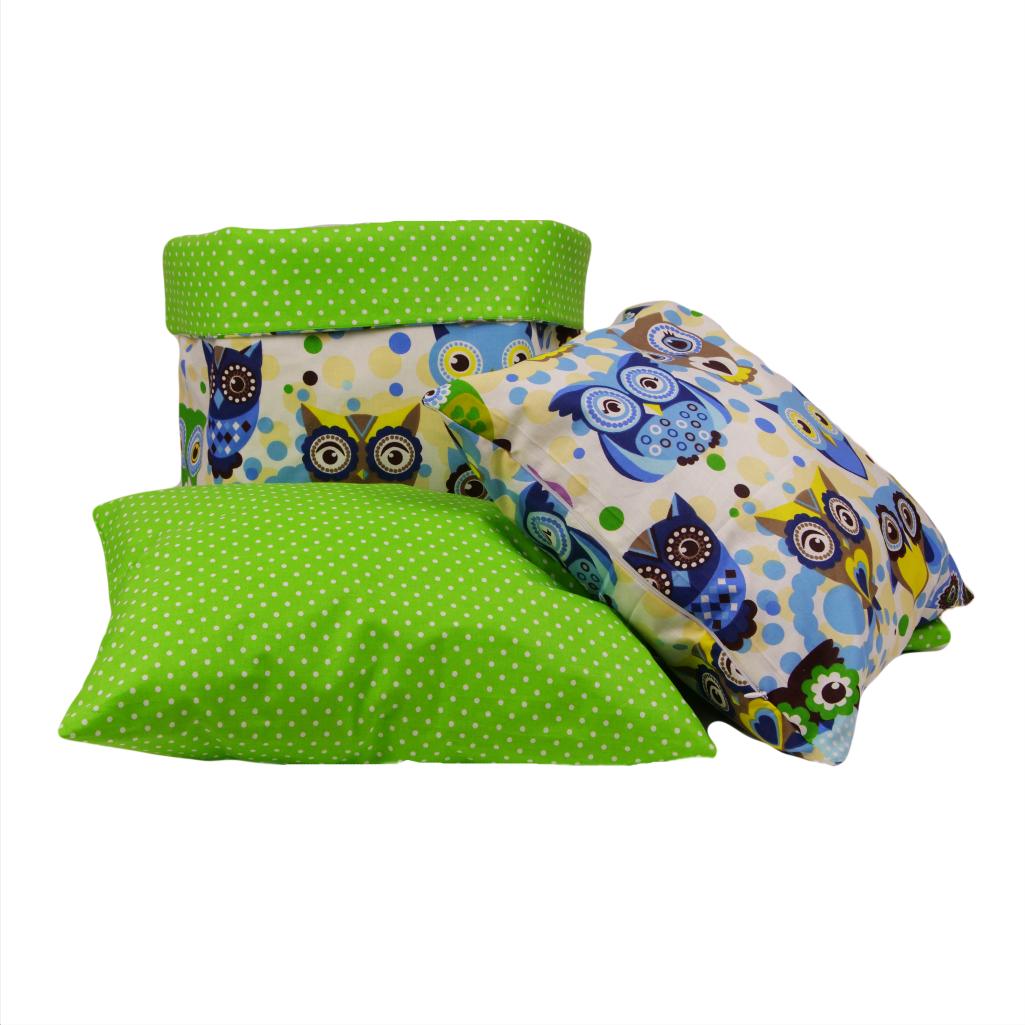 Комплект для декора комнаты 001 МПП (сказочные совы голубые / горох на зеленом)