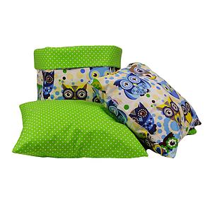 Комплект для декору кімнати 001 МПП  (казкові сови блакитні/горох на зеленому)