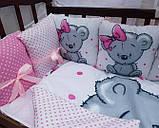 Комплект постільний у дитячу ліжечко, з захистом і балдахіном, фото 3