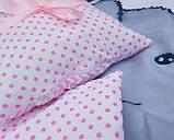 Комплект постельный в детскую кроватку, с защитой и балдахином, фото 4