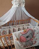 Комплект постільний у дитячу ліжечко, з захистом і балдахіном, фото 2