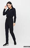 Модный комбинезон женский спортивный черного цвета