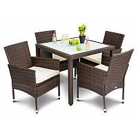 Садовая мебель из ротанга VERONA 4+1 коричневая