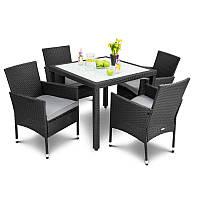 Садовая мебель из ротанга VERONA 4+1 черная