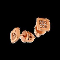 Серьги пусеты  золотые с бриллиантами Магический Квадрат