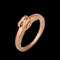 Кольцо золотое с бриллиантом Объятия