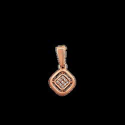 Кулон золотой с бриллиантами Маленький квадрат