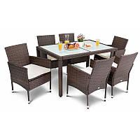Садовая мебель из ротанга VERONA 6+1 коричневая