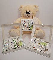Набор детских пеленок для мальчика 90*110 см 5 шт 2 фланелевые , 3 ситцевые с носочками