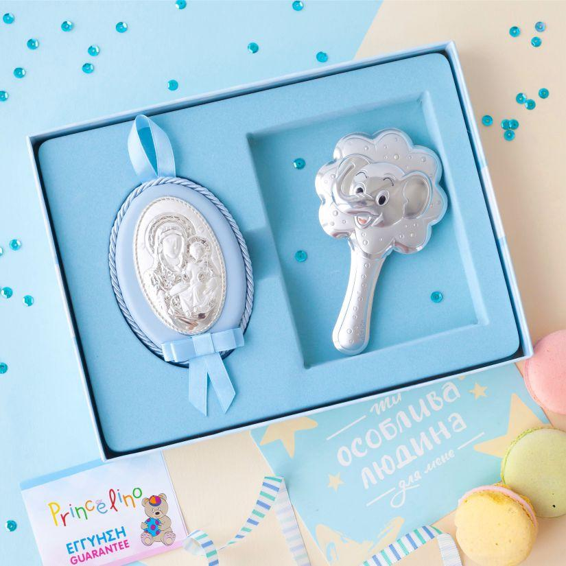 Серебряная погремушка слоненок и икона Дева Мария для мальчиков