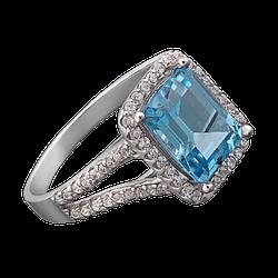 Серебряное кольцо с прямоугольным камнем