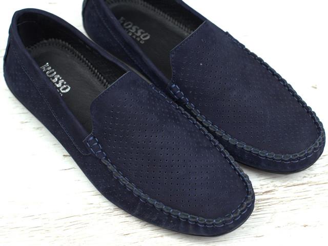 Мокасини чоловічі сині нубук перфорація літнє взуття великих розмірів Rosso Avangard BS M4 Perf Blu Sea