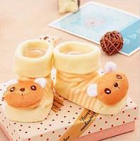 Хлопковые носочки с игрушкой для новорожденных 3-18 месяцев, Медвежонок