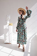 Летнее платье миди с длинным рукавом