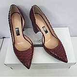 Женские бордовые туфли из питона на толстом каблуке, фото 2