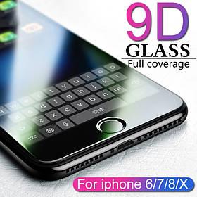 Защитное стекло 9D для Iphone 8 Чёрное Premium качество