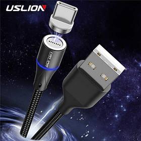 Магнитный кабель для зарядки USLION  Micro USB/USB 2A с подсветкой, 1 м Black