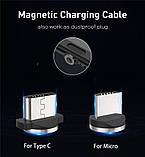 Магнитный кабель для зарядки USLION  с подсветкой, 1 м, фото 5