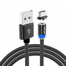 Магнитный кабель для зарядки USLION  Type-C (на айфон)/USB 2A с подсветкой, 1 м Black