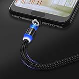 Магнитный кабель для зарядки USLION  Type-C (на айфон)/USB 2A с подсветкой, 1 м Black, фото 3