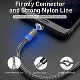 Магнитный кабель для зарядки USLION  Type-C (на айфон)/USB 2A с подсветкой, 1 м Black, фото 6
