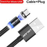Магнитный кабель для зарядки USLION  Type-C (на айфон)/USB 2A с подсветкой, 1 м Black, фото 7