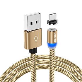 Магнитный кабель для зарядки USLION  Type-C (на айфон)/USB 2A с подсветкой, 1 м Gold