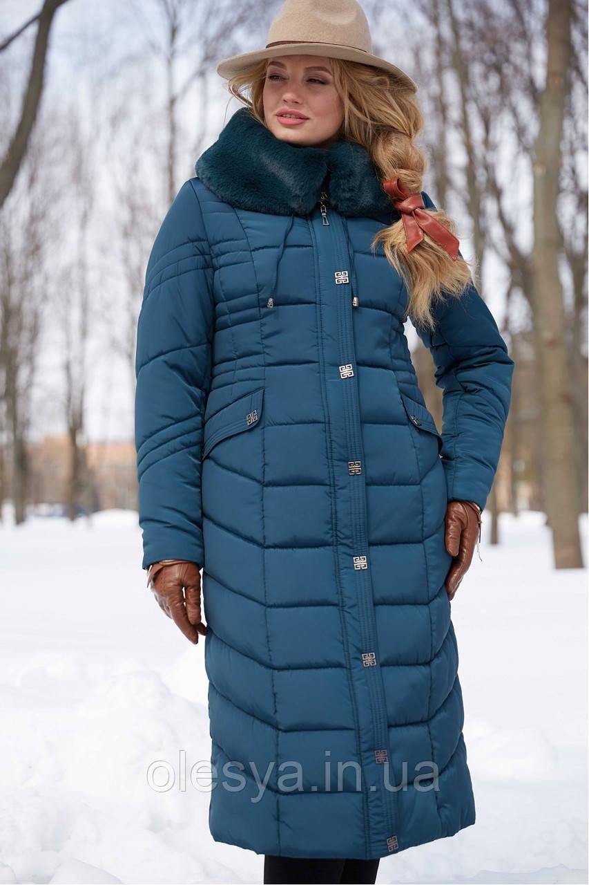 Пальто женское зимнее бренда Nui Very Дайкири3 изумруд размер 48